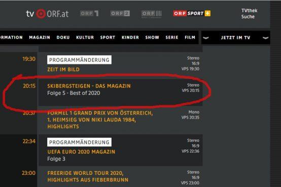 ORF Skibergsteiger Fenster 17.3.2020